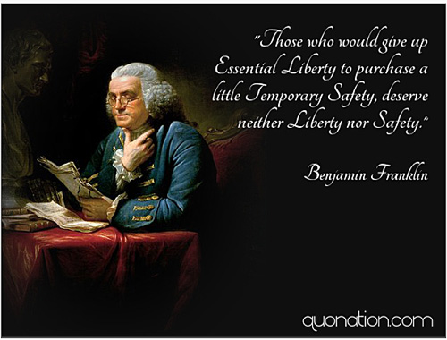 Liberty Nor Safety quote from Ben Frankllin