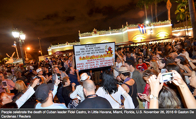 Cuban Americans celebrating in Miami after Fidel Castro's death