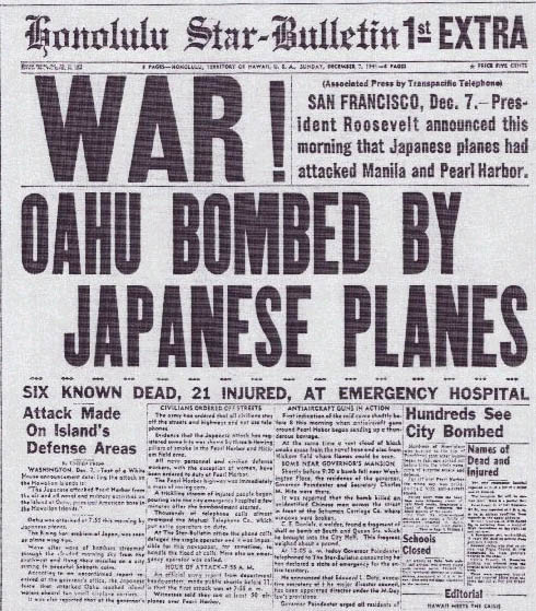 Honolulu newspaper December 7, 1941